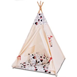 Cort copii stil indian Teepee Tent Kidizi Minnie, include covoras gros si 2 perne