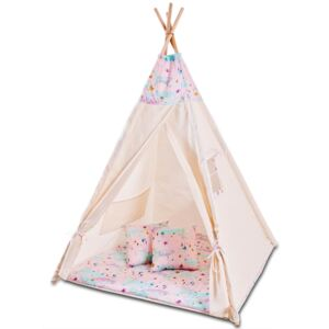 Cort copii stil indian Teepee Tent Kidizi Pink Moon, include covoras gros si 2 perne
