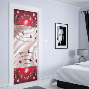 GLIX Tapet netesute pe usă - Abstract Modern Design Red