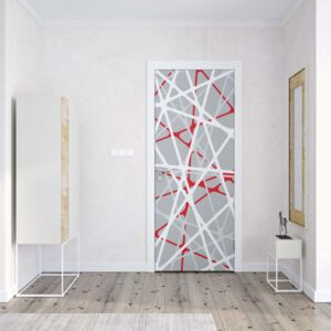 GLIX Tapet netesute pe usă - Modern White Red Grey String Design