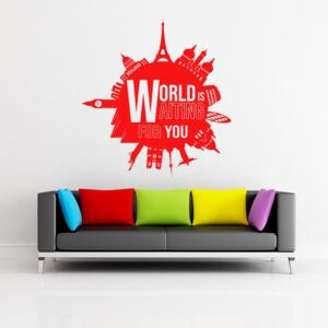 GLIX World is waiting for you - autocolant de perete Rosu 55x60 cm