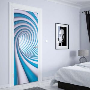 GLIX Tapet netesute pe usă - 3D Swirl Tunnel Blue And White