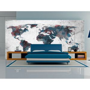 Fototapet Bimago - World map on the wall + Adeziv gratuit 550x270 cm