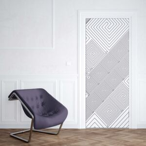 GLIX Tapet netesute pe usă - Modern Geometric Pattern White And Grey