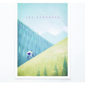 Poster Travelposter Les Pyrenees, A3