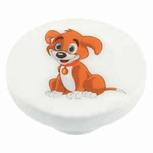 Buton Sedef rotund Dog, plastic, M4, diametrul 44 mm