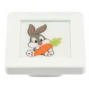 Buton patrat Sedef, model rabbit, plastic, 40 x 40 x 19 mm