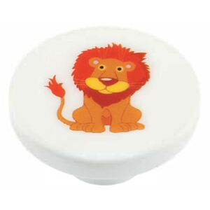 Buton rotund Sedef, model lion, plastic, 40 mm