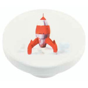 Buton rotund Sedef, model rocket, plastic, 40 mm