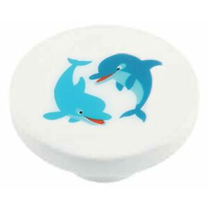 Buton rotund Sedef, model dolphin, plastic, 40 mm