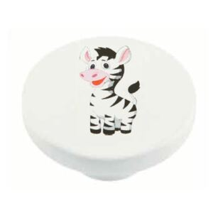 Buton rotund Sedef, model Baby Zebra, plastic, 40 mm