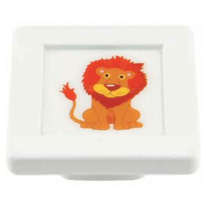 Buton patrat Sedef, model lion, plastic, 40 x 40 x 19 mm