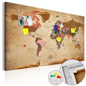 Bimago Tablou din plută - World Map: Brown Elegance 90x60 cm