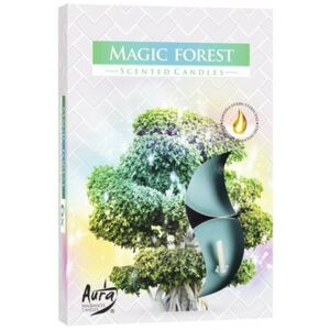 Set 6 lumanari pastile Bispol Magic Forest P15-196, durata de ardere 4 h