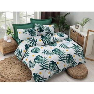Lenjerie pentru pat single, din polibumbac EnLora Home Monstera V2 Green, 140 x 200 cm