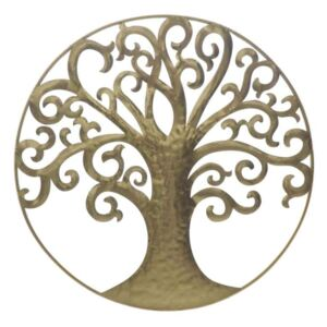 Decorațiune Life Tree, 70x70x18 cm, metal, auriu