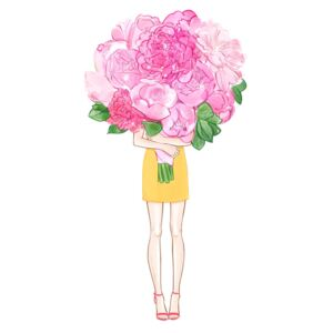 Ilustrare Girl and Peonies, Lena Ker