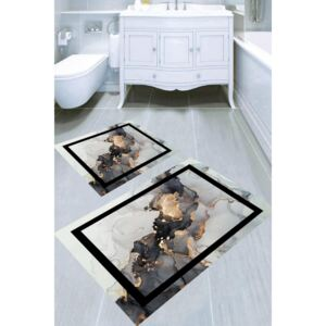 Set 2 covorase baie, WHITE si BEIGE, Poliester, Abstract 2