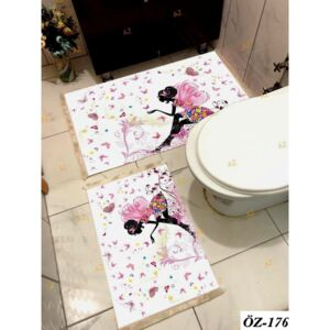 Set 2 covorase baie, WHITE si BEIGE, Poliester, Butterfly