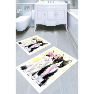 Set 2 covorase baie, WHITE si BEIGE, Poliester, Pisici