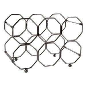 Suport pliabil din metal, pentru sticle de vin PT LIVING Honeycomb, gri