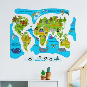Autocolant de perete Ambiance Colored Baby World Map