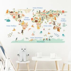 Autocolant de perete Ambiance Pastel World Map
