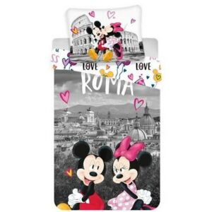 Lenjerie bumbac Jerry Fabrics Mickey and Minnie in Rome, 140 x 200 cm, 70 x 90 cm