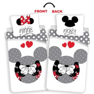 Lenjerie bumbac Jerry Fabrics Mickey și Minnie Love grey, 140 x 200 cm, 70 x 90 cm