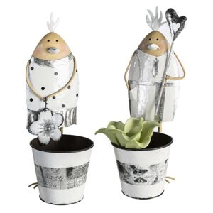 Set 2 ghivece Lucky Chick, metal, multicolor, 14x14x40 cm