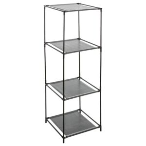 Biblioteca cu 4 rafturi metalice 5five Simple Smart, 34 x 34 x 104 cm, Argintiu