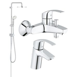 Coloana dus Grohe New Tempesta 200,crom,montare pe perete (27389002), baterie cada/dus (33300002), baterie lavoar Grohe Eurosmart S (33265002)