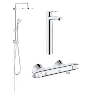 Pachet coloana dus Grohe New Tempesta 200, crom, montare pe perete, plus baterie termostat Grohtherm 1000 New, plus baterie lavoar montare pe blat Grohe Bauloop XL (27389002, 34143003, 23764000)-Div-200-Gro19