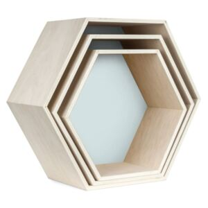 Set 3 rafturi de perete Really Nice Things Hexagon