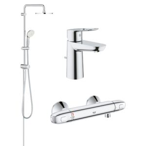 Pachet coloana dus Grohe New Tempesta 200, crom, montare pe perete, plus baterie termostat Grohtherm 1000 New, plus baterie lavoar Grohe Bauloop marimea S (27389002, 34143003, 23335000)-Div-200-Gro18