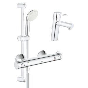 Pachet: Baterie dus Grohe Grohtherm 800 si Set dus cu bara Tempesta Mono-34565001, Baterie lavoar inaltime medie Grohe Concetto New-23450001