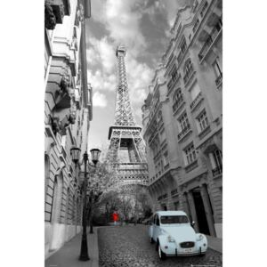 Paris - red girl blue car Poster, (61 x 91,5 cm)