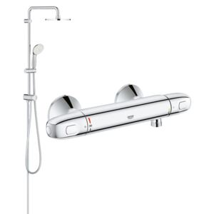 Coloana dus Grohe New Tempesta 200,crom,montare pe perete,baterie cabina dus termostat Grohtherm 1000 New (27389002,34143003)