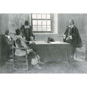 Sir William Berkeley Surrendering to the Commissioners of the Commonwealth, illustration from 'In Washington's Day' by Woodrow Wilson, pub. in Harper's Magazine, 1896 Reproducere, Howard (after) Pyle