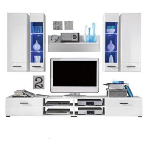 Set mobila living FORCE WHITE, iluminare led inclusa, 240x190x45 cm