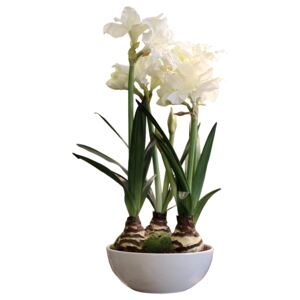 Floare decorativa Amaryllis alb 80 cm
