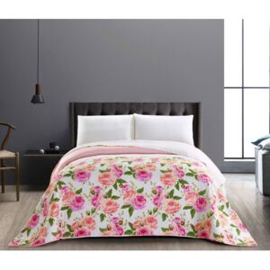 Cuvertură reversibilă din microfibră DecoKing English Rose, 200 x 220 cm, roz-alb