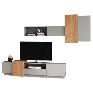 Perete living, gri /stejar craft auriu, TRIO