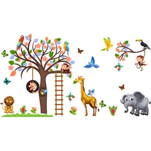 Sticker decorativ - Maimute in copaci, elefant si girafa - 230x140 cm