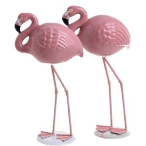 Set 2 decoratiuni de masa Flamingo 27 si 25 cm