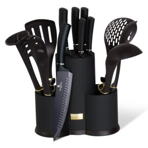 Set cutite otel inoxidabil si ustensile de bucatarie (12 piese) Black Royal Collection Berlinger Haus BH 6253