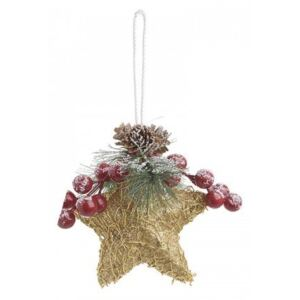 Set 6 ornament pentru brad Golden Star H12 cm