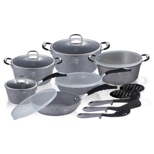 Set oale, tigai marmorate (18 piese) din aluminiu forjat Gray Stone Touch Line Berlinger Haus BH 6196