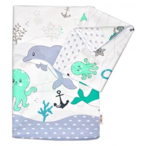 Set 2 piese lenjerie pat bumbac Ocean, Baby Nellys, verde