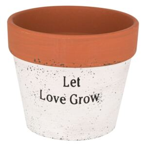 Ghiveci ceramic alb Let love grow ,14x12 cm